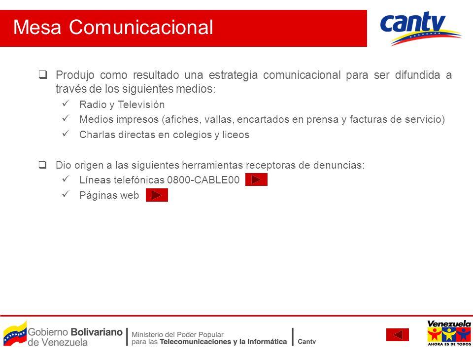 Mesa Comunicacional Produjo como resultado una estrategia comunicacional para ser difundida a través de los siguientes medios:
