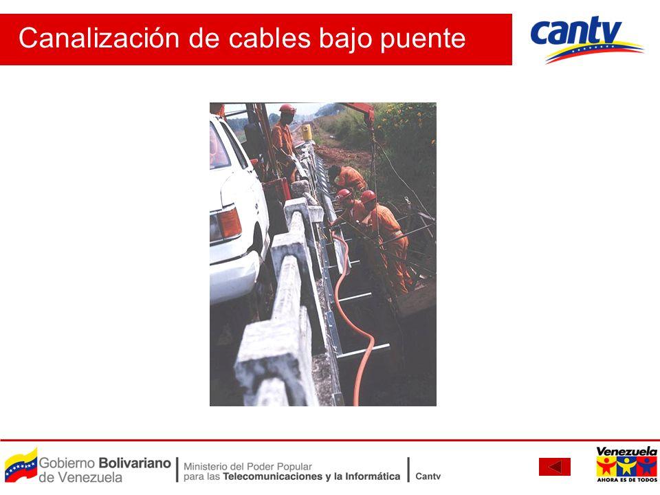 Canalización de cables bajo puente