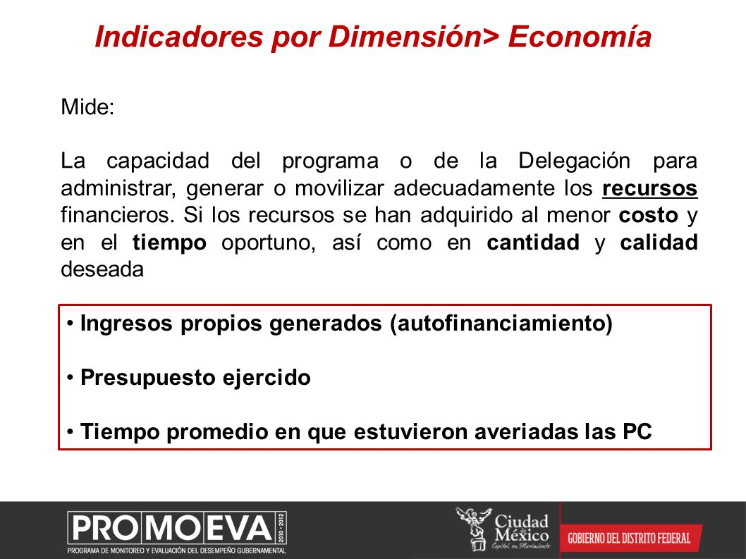 Indicadores por Dimensión> Economía