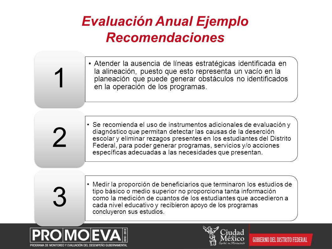 Evaluación Anual Ejemplo Recomendaciones