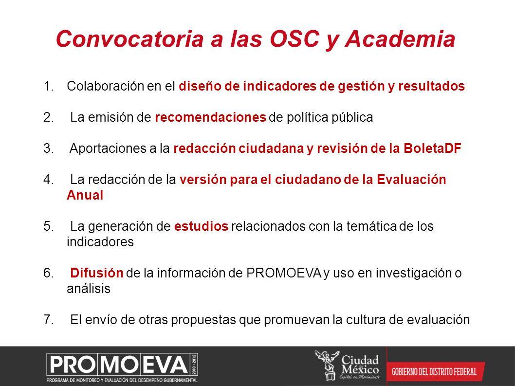 Convocatoria a las OSC y Academia