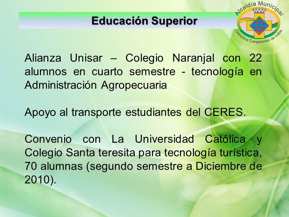 Educación Superior Alianza Unisar – Colegio Naranjal con 22 alumnos en cuarto semestre - tecnología en Administración Agropecuaria.
