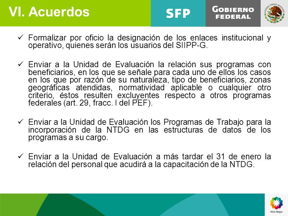 VI. Acuerdos Formalizar por oficio la designación de los enlaces institucional y operativo, quienes serán los usuarios del SIIPP-G.