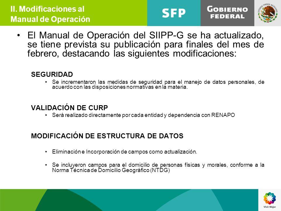 II. Modificaciones al Manual de Operación.