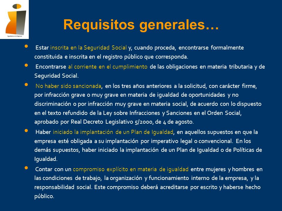Requisitos generales…