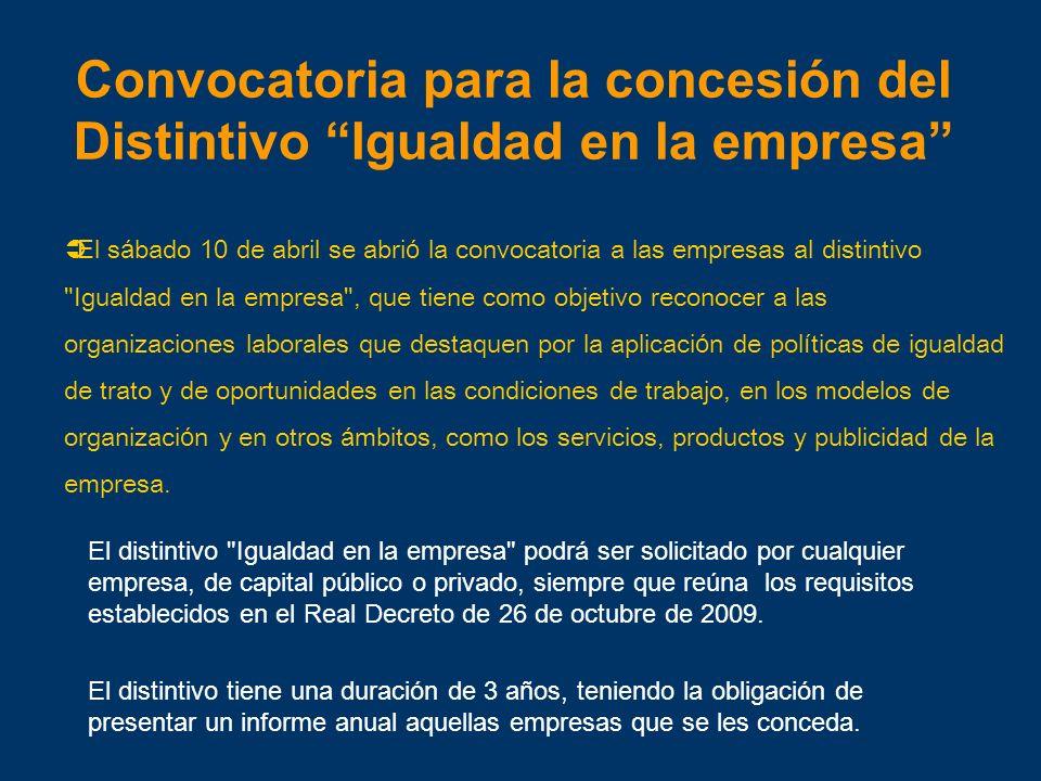 Convocatoria para la concesión del Distintivo Igualdad en la empresa