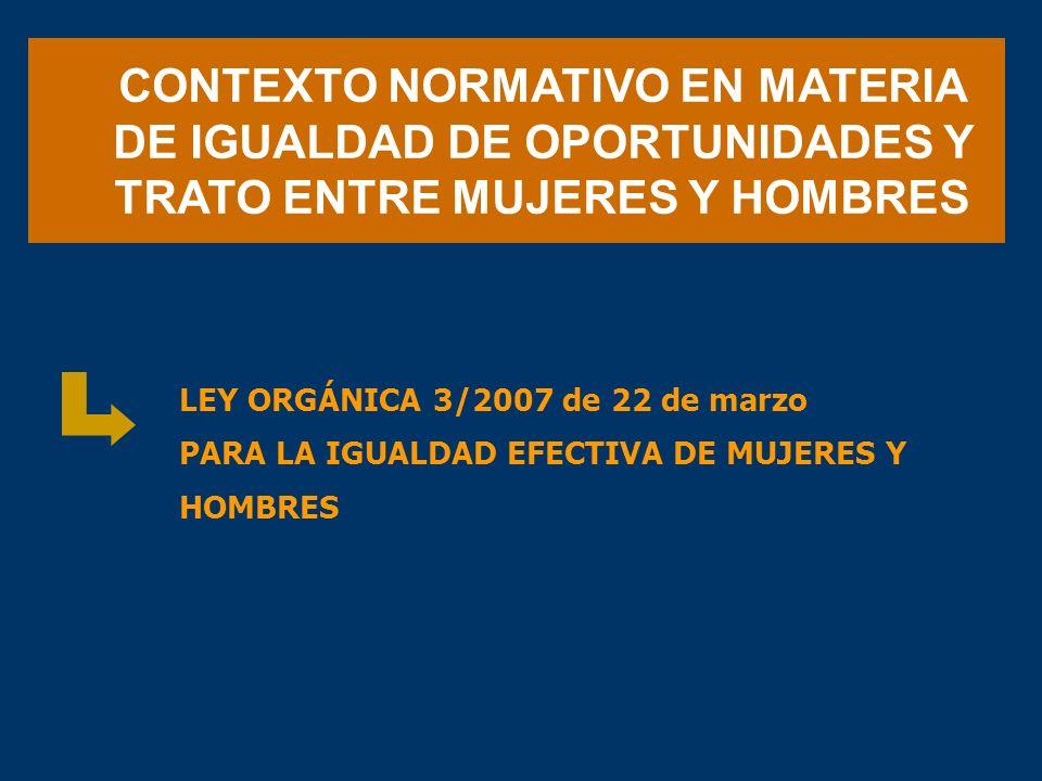 CONTEXTO NORMATIVO EN MATERIA DE IGUALDAD DE OPORTUNIDADES Y TRATO ENTRE MUJERES Y HOMBRES