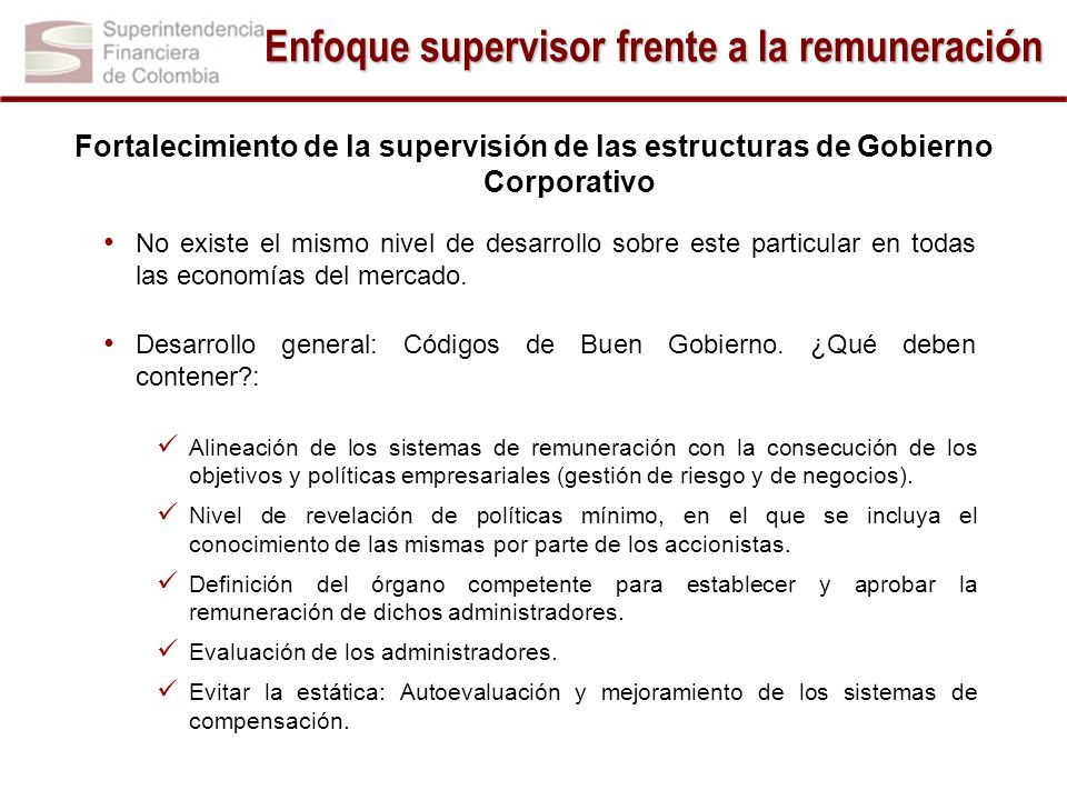 Enfoque supervisor frente a la remuneración