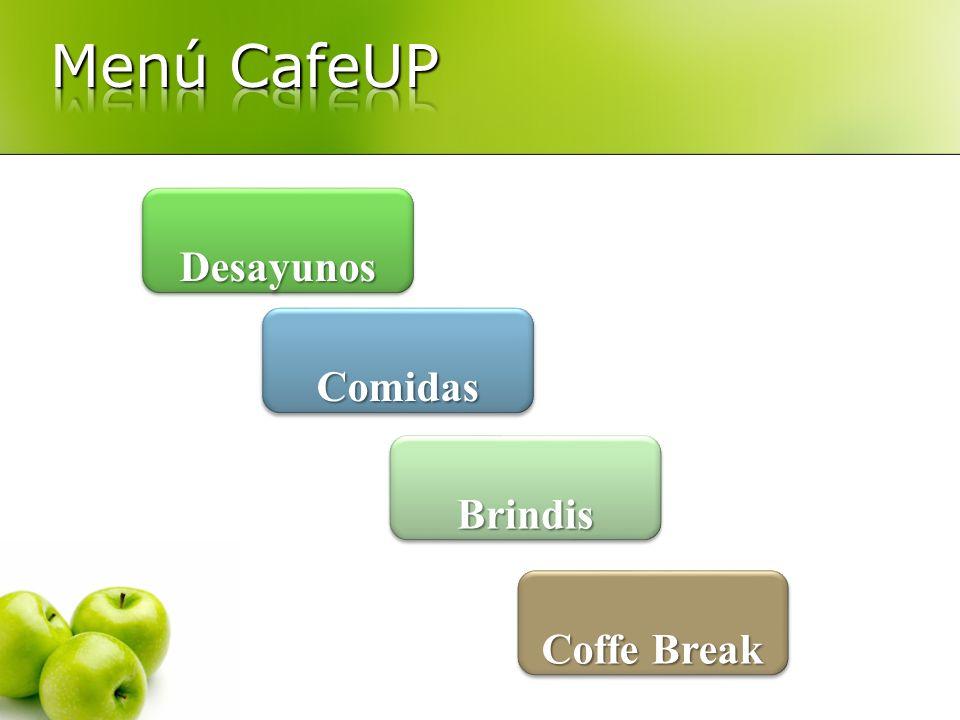 Menú CafeUP Desayunos Comidas Brindis Coffe Break