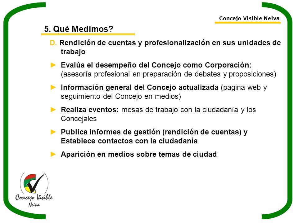 Concejo Visible Neiva 5. Qué Medimos D. Rendición de cuentas y profesionalización en sus unidades de trabajo.