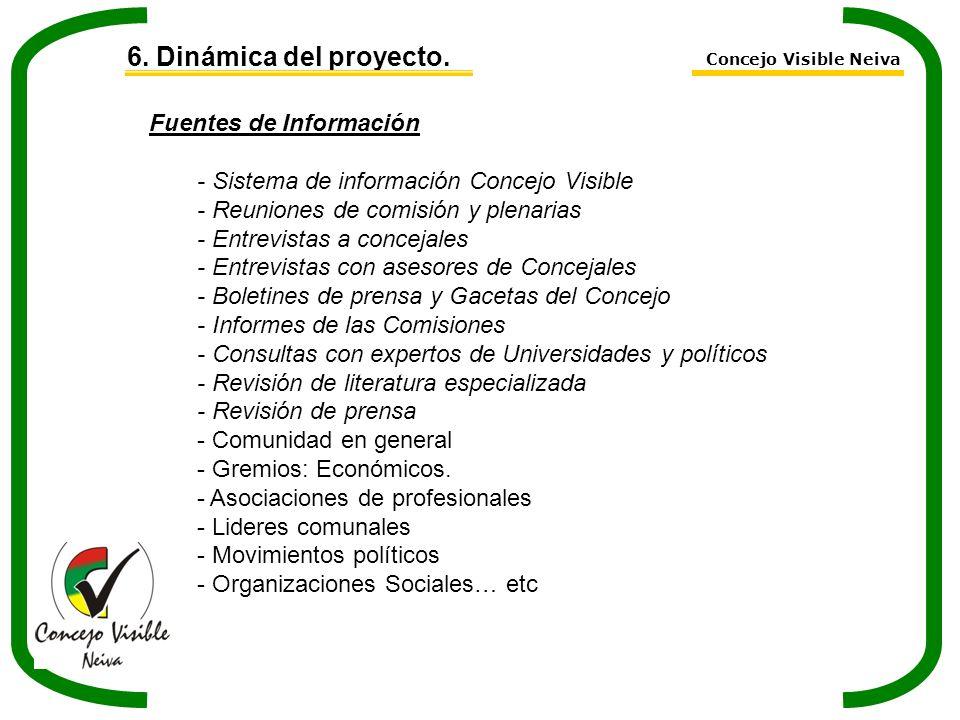 6. Dinámica del proyecto. Fuentes de Información