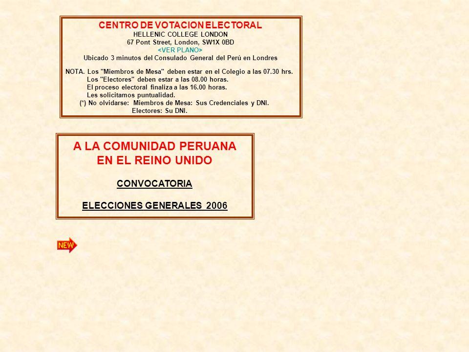 A LA COMUNIDAD PERUANA EN EL REINO UNIDO