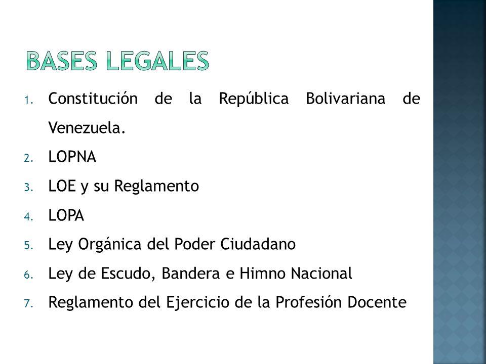 Bases Legales Constitución de la República Bolivariana de Venezuela.