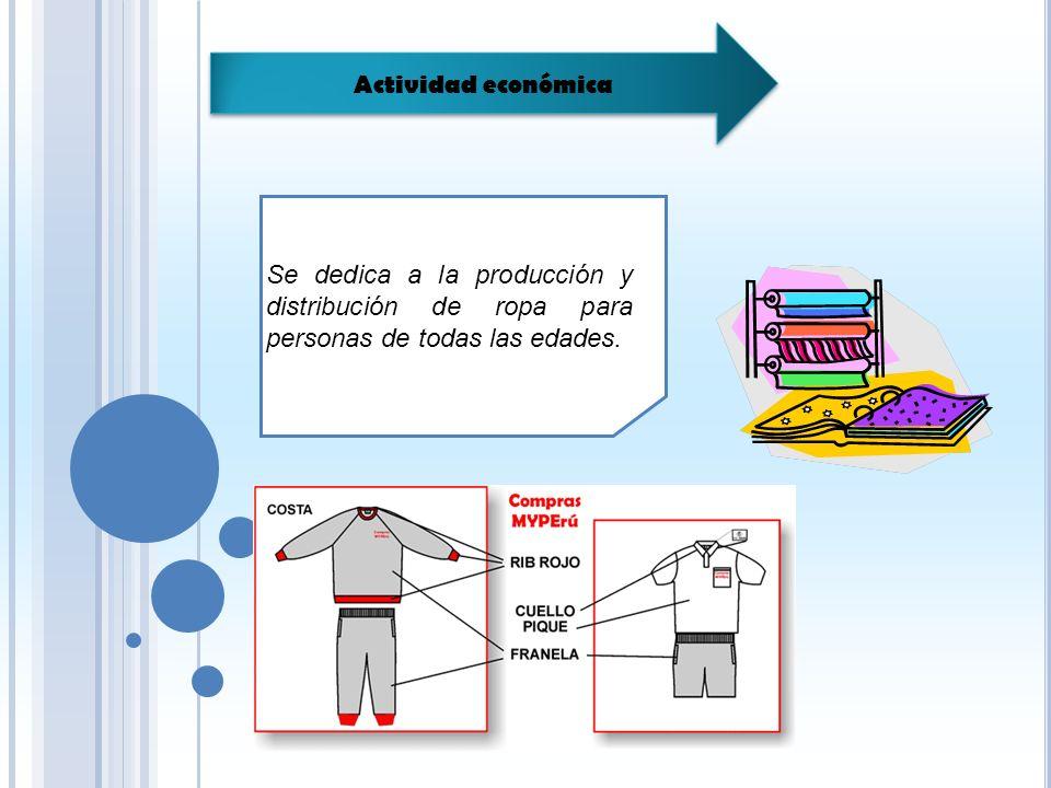 Actividad económica Se dedica a la producción y distribución de ropa para personas de todas las edades.
