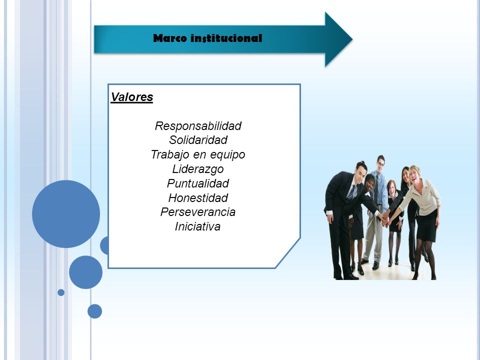 Marco institucional Valores. Responsabilidad. Solidaridad. Trabajo en equipo. Liderazgo. Puntualidad.