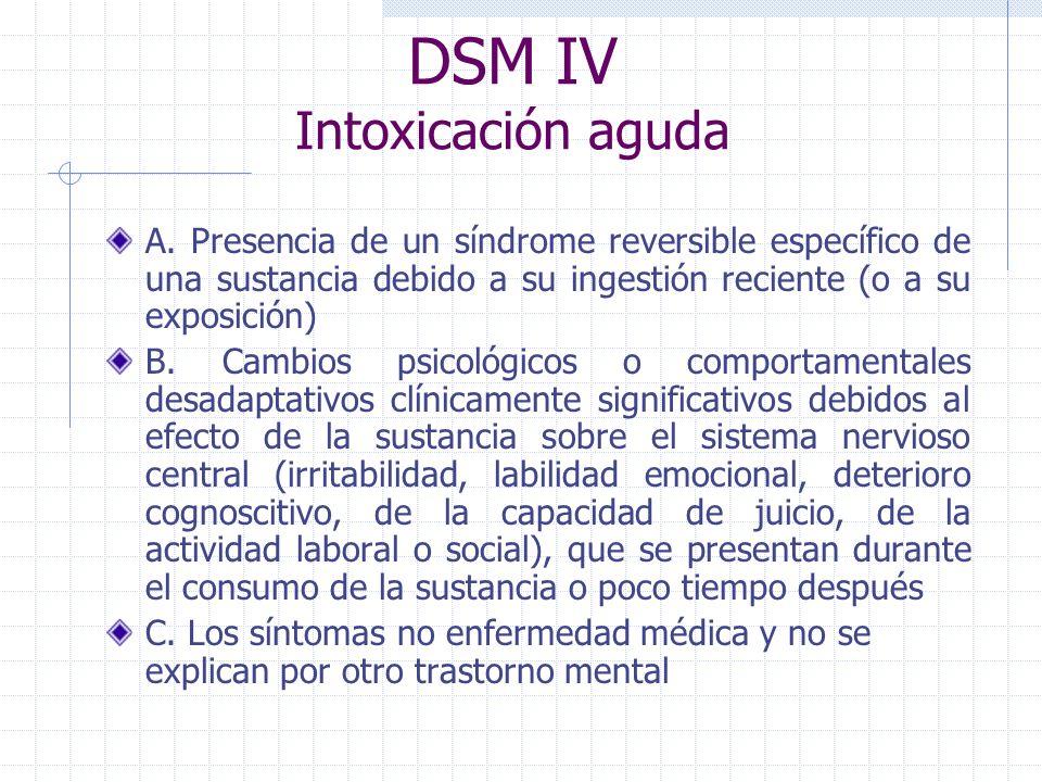 DSM IV Intoxicación aguda