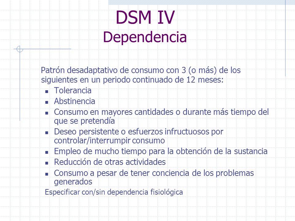DSM IV Dependencia Patrón desadaptativo de consumo con 3 (o más) de los siguientes en un periodo continuado de 12 meses: