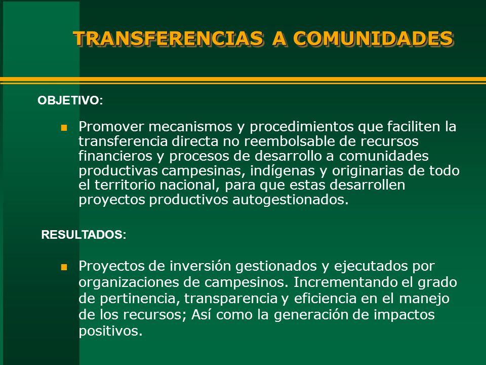 TRANSFERENCIAS A COMUNIDADES