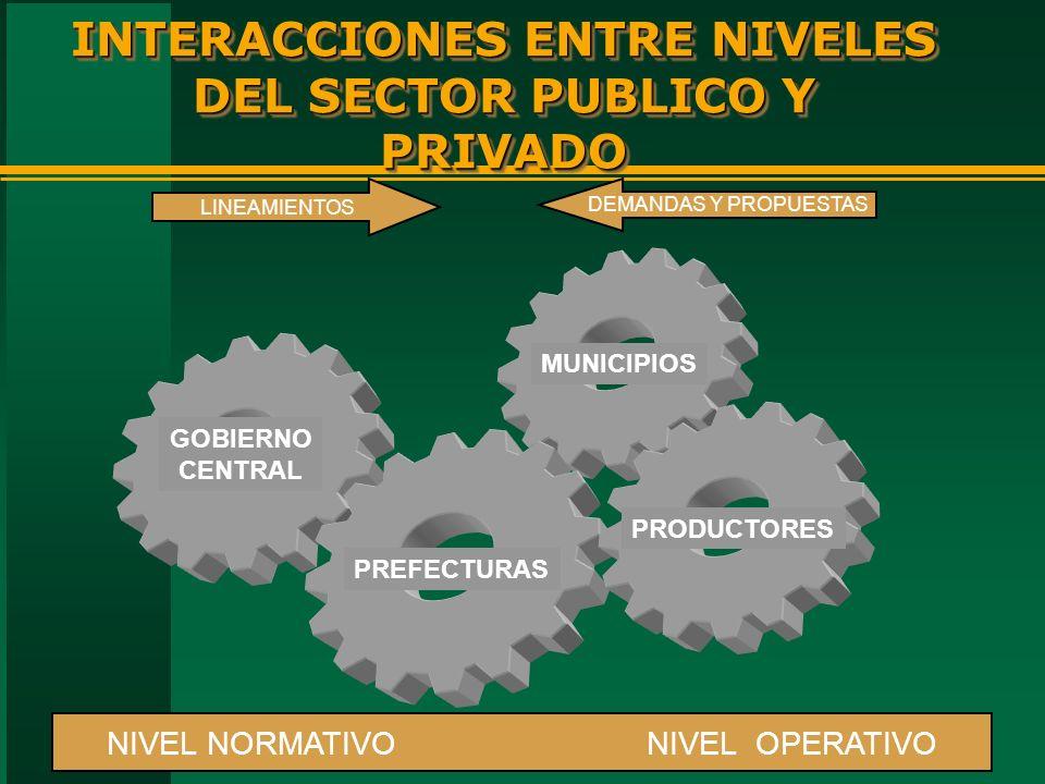 INTERACCIONES ENTRE NIVELES DEL SECTOR PUBLICO Y PRIVADO