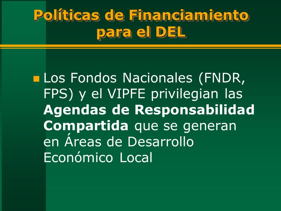 Políticas de Financiamiento para el DEL