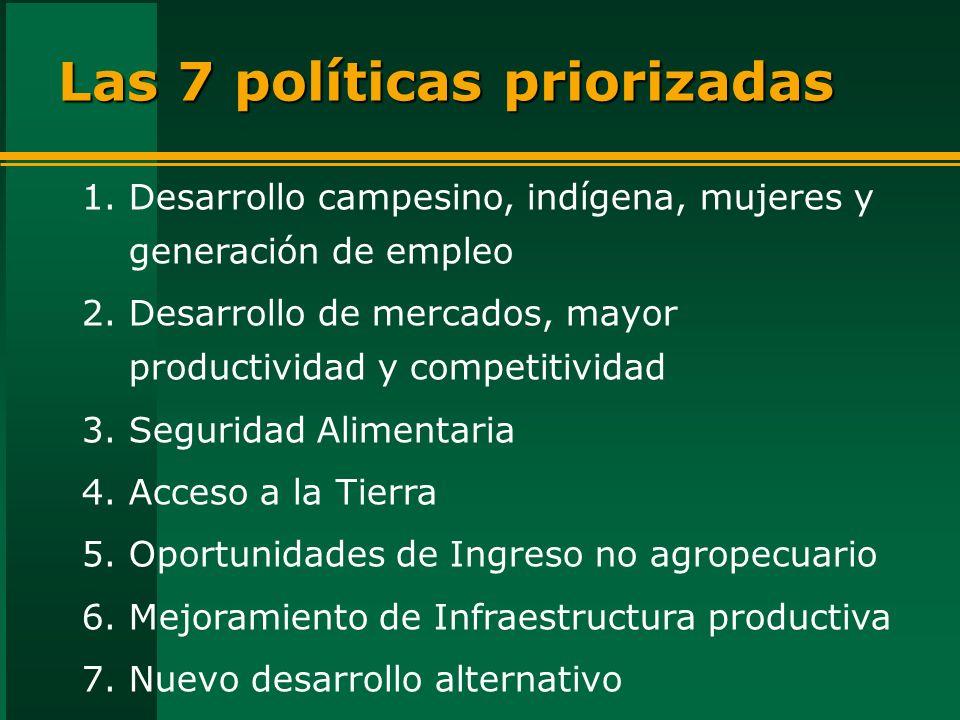 Las 7 políticas priorizadas