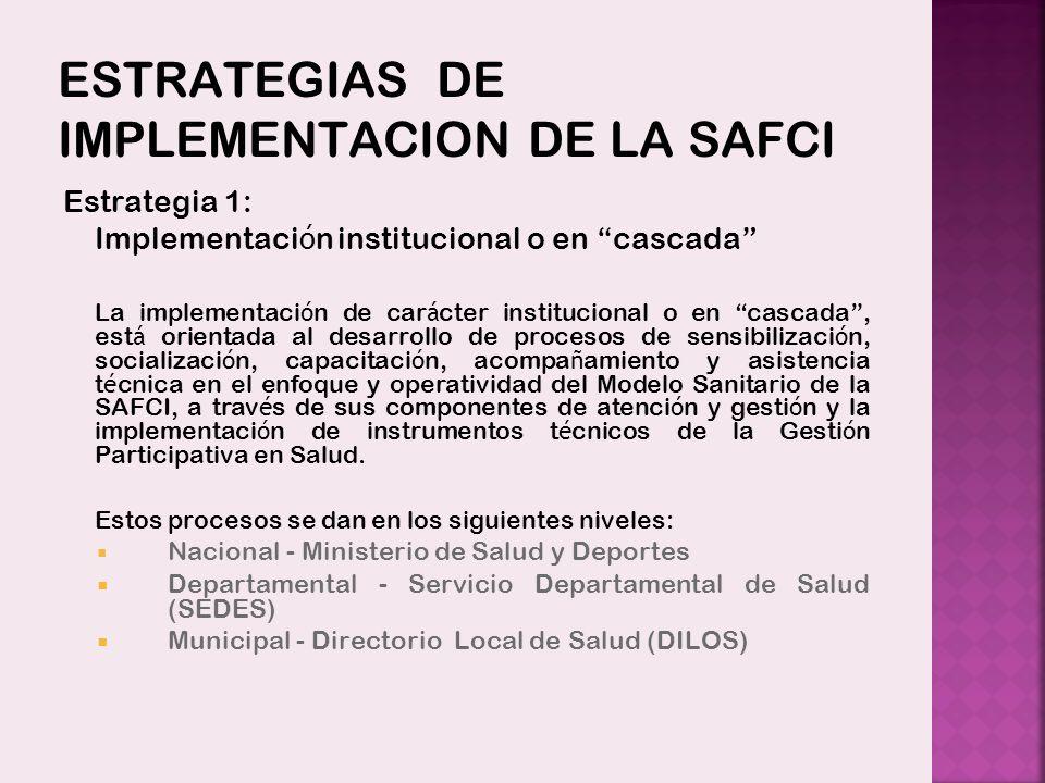 ESTRATEGIAS DE IMPLEMENTACION DE LA SAFCI