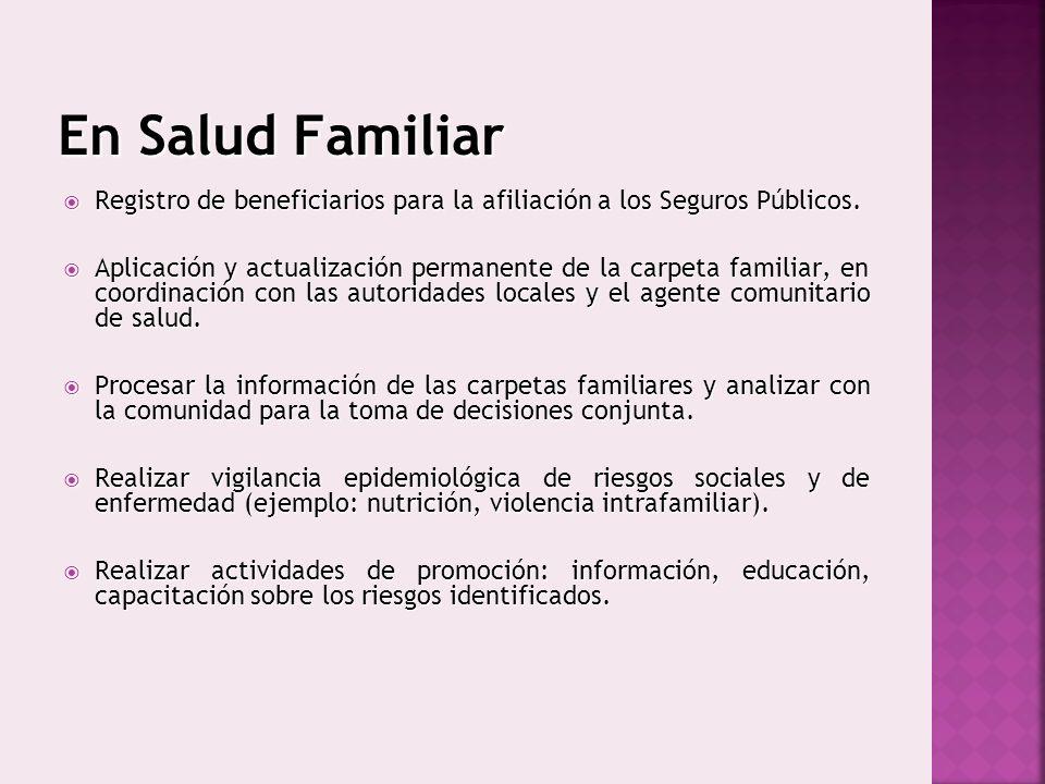 En Salud Familiar Registro de beneficiarios para la afiliación a los Seguros Públicos.