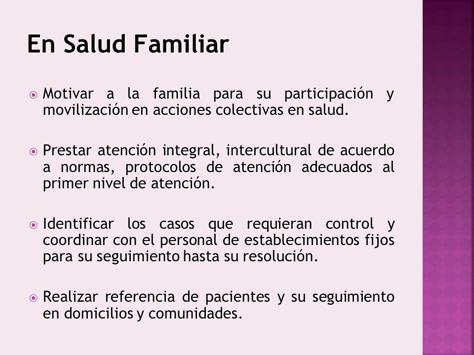 En Salud Familiar Motivar a la familia para su participación y movilización en acciones colectivas en salud.
