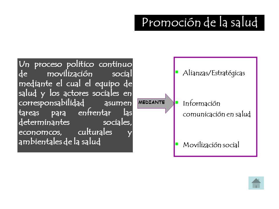 Promoción de la salud Alianzas/Estratégicas. Información comunicación en salud. Movilización social.