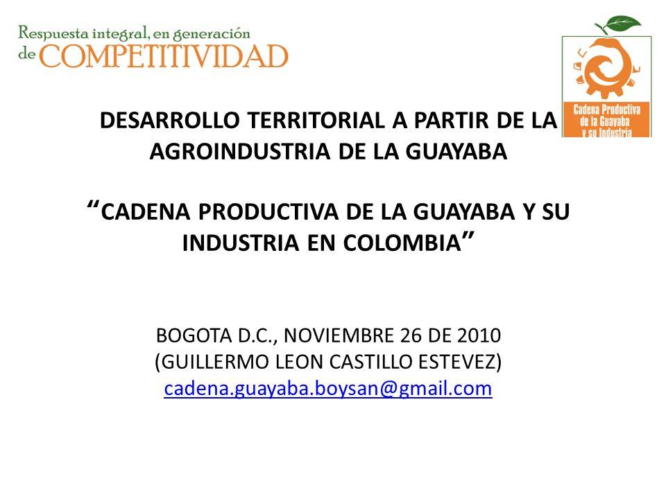 DESARROLLO TERRITORIAL A PARTIR DE LA AGROINDUSTRIA DE LA GUAYABA CADENA PRODUCTIVA DE LA GUAYABA Y SU INDUSTRIA EN COLOMBIA BOGOTA D.C., NOVIEMBRE 26 DE 2010 (GUILLERMO LEON CASTILLO ESTEVEZ) cadena.guayaba.boysan@gmail.com