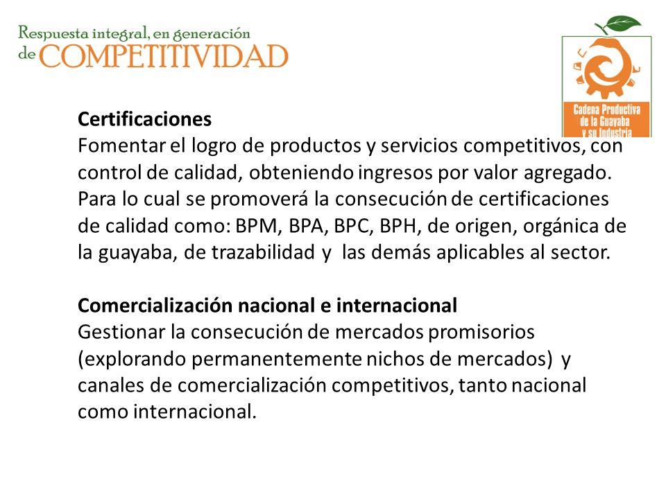 Certificaciones Fomentar el logro de productos y servicios competitivos, con control de calidad, obteniendo ingresos por valor agregado.