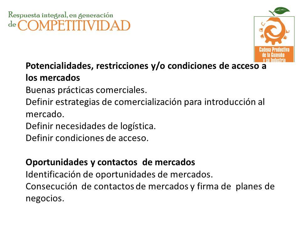 Potencialidades, restricciones y/o condiciones de acceso a los mercados Buenas prácticas comerciales.
