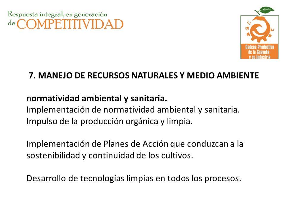 7. MANEJO DE RECURSOS NATURALES Y MEDIO AMBIENTE normatividad ambiental y sanitaria.