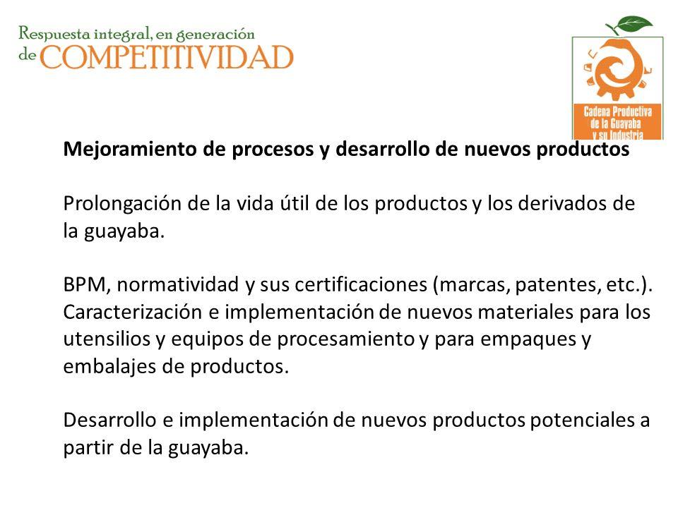 Mejoramiento de procesos y desarrollo de nuevos productos Prolongación de la vida útil de los productos y los derivados de la guayaba.