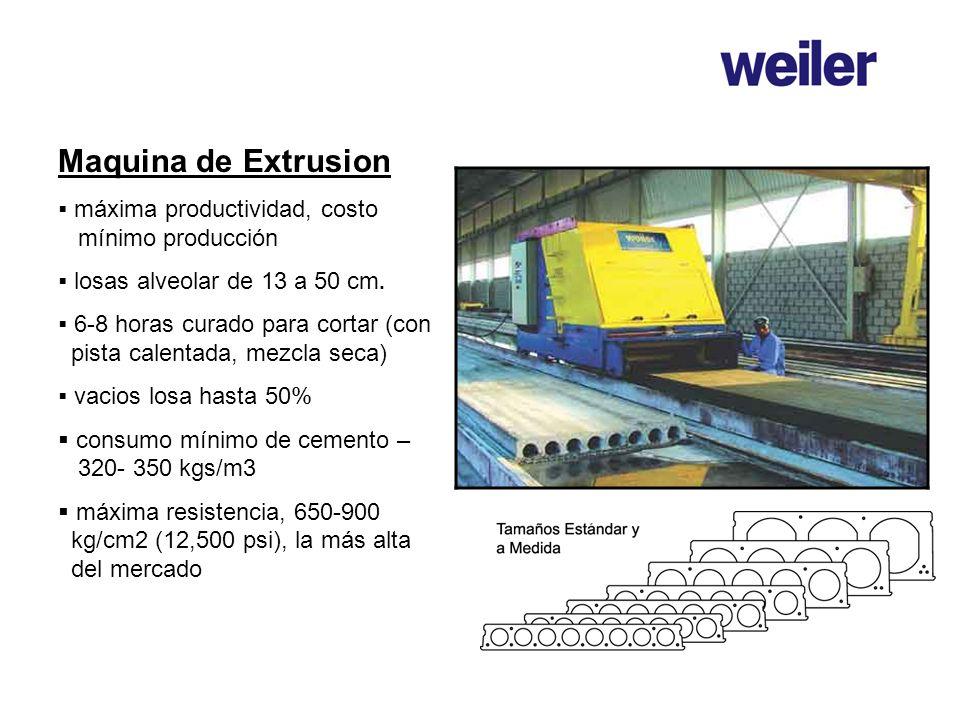 Maquina de Extrusion consumo mínimo de cemento – 320- 350 kgs/m3