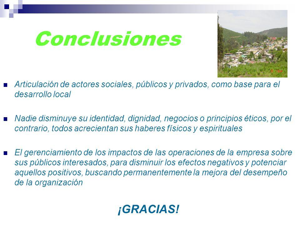 Conclusiones Articulación de actores sociales, públicos y privados, como base para el desarrollo local.