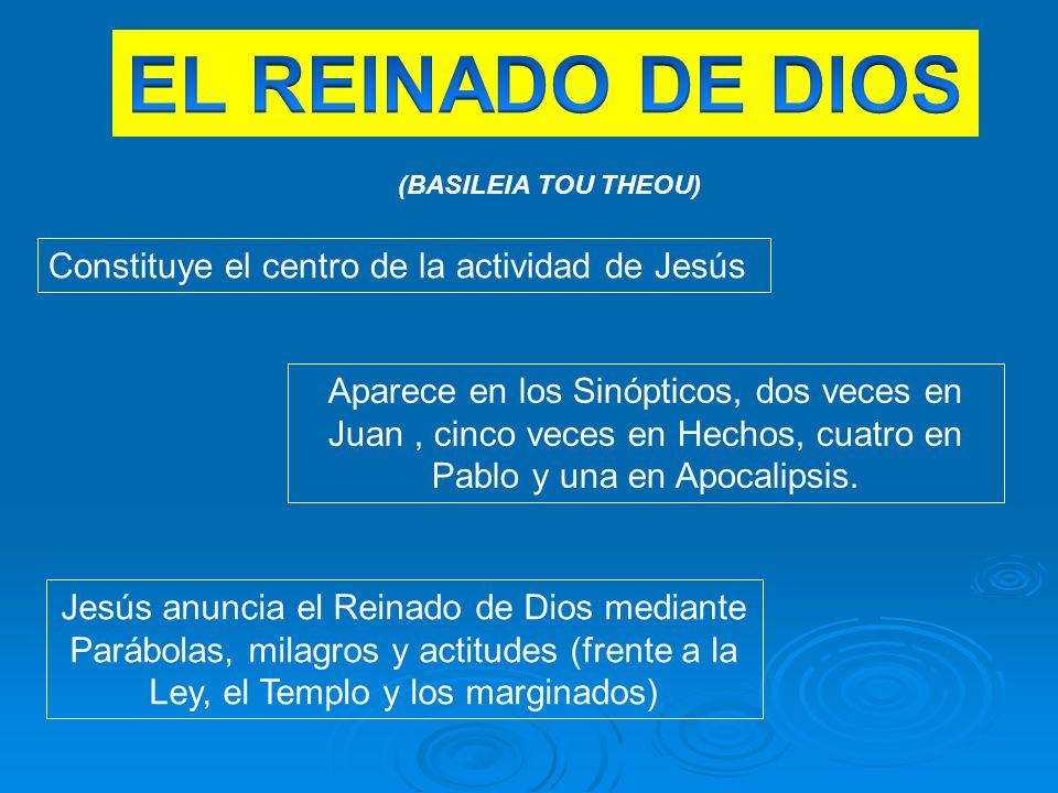 EL REINADO DE DIOS Constituye el centro de la actividad de Jesús