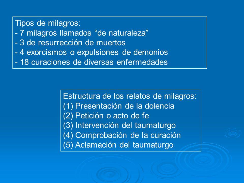 Tipos de milagros: - 7 milagros llamados de naturaleza - 3 de resurrección de muertos. - 4 exorcismos o expulsiones de demonios.