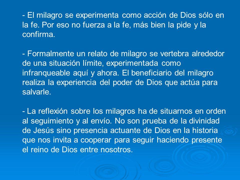 El milagro se experimenta como acción de Dios sólo en la fe