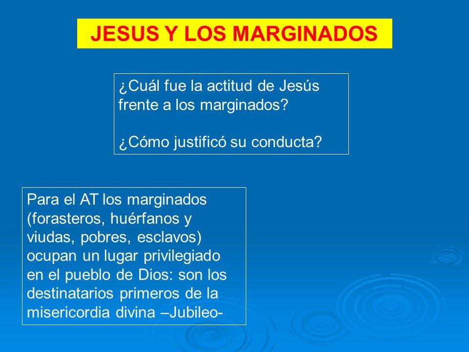 JESUS Y LOS MARGINADOS ¿Cuál fue la actitud de Jesús frente a los marginados ¿Cómo justificó su conducta