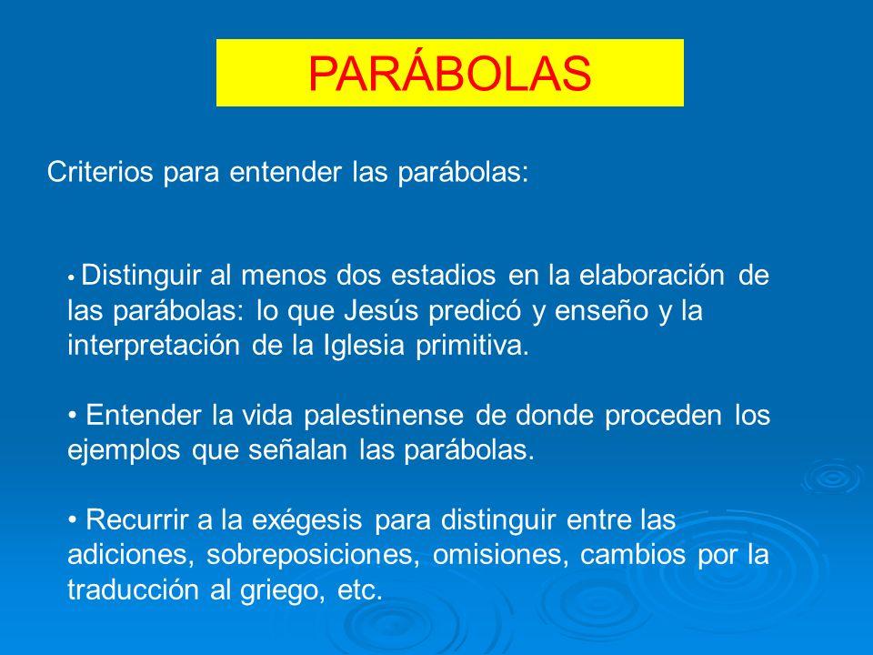 PARÁBOLAS Criterios para entender las parábolas: