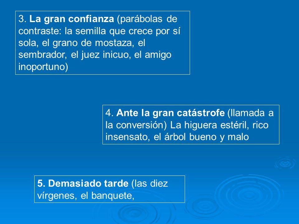 3. La gran confianza (parábolas de contraste: la semilla que crece por sí sola, el grano de mostaza, el sembrador, el juez inicuo, el amigo inoportuno)