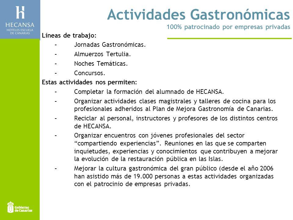 Actividades Gastronómicas 100% patrocinado por empresas privadas