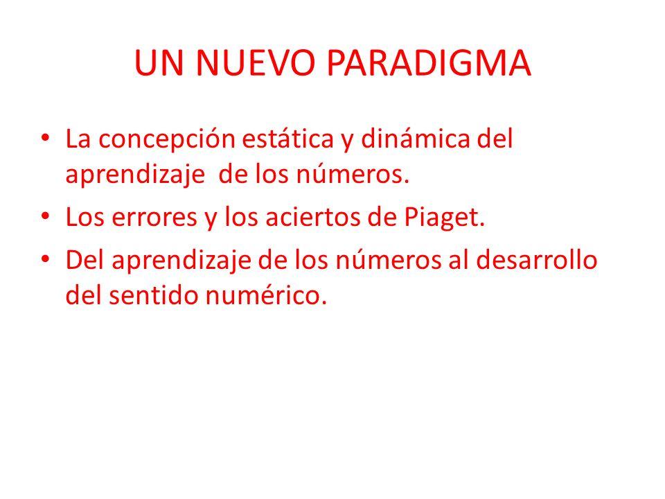 UN NUEVO PARADIGMA La concepción estática y dinámica del aprendizaje de los números. Los errores y los aciertos de Piaget.