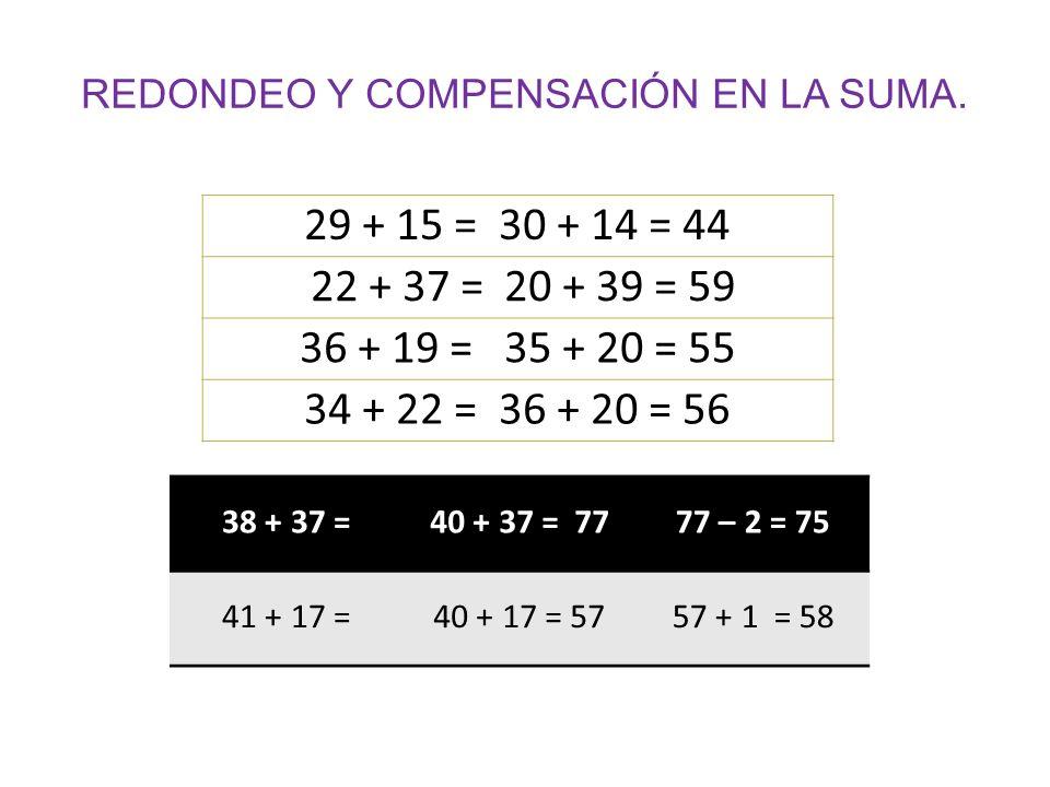 REDONDEO Y COMPENSACIÓN EN LA SUMA.