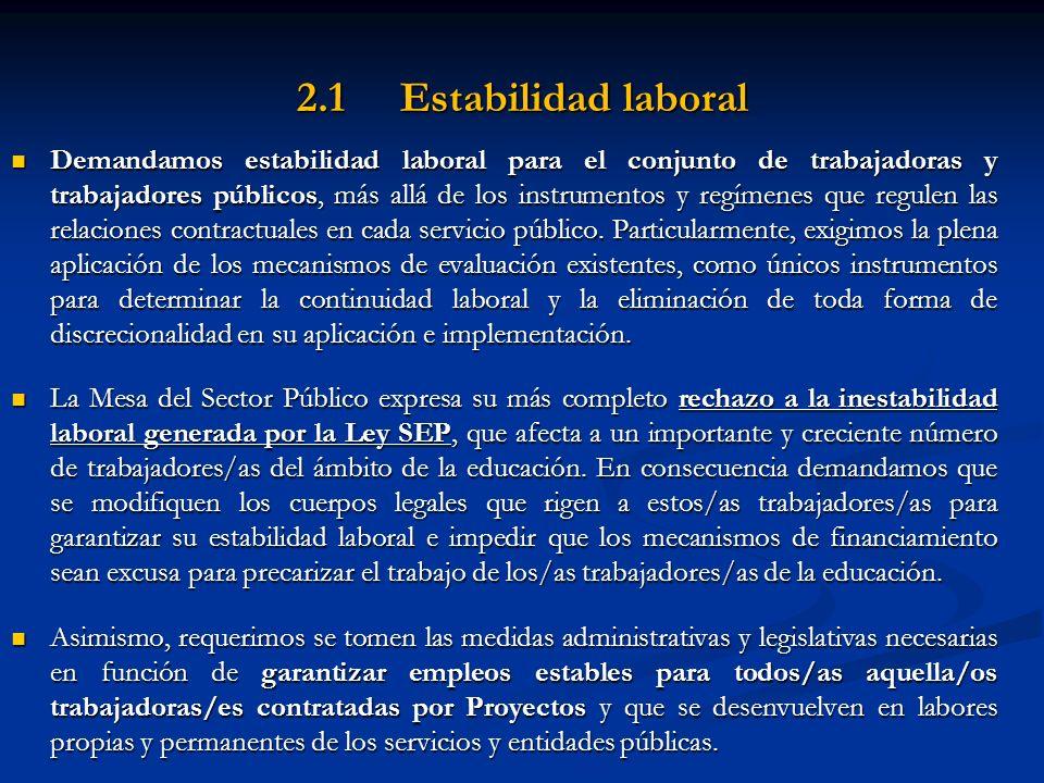 2.1 Estabilidad laboral