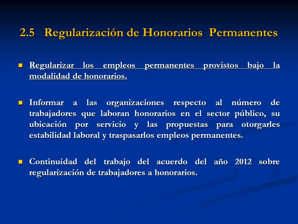 2.5 Regularización de Honorarios Permanentes