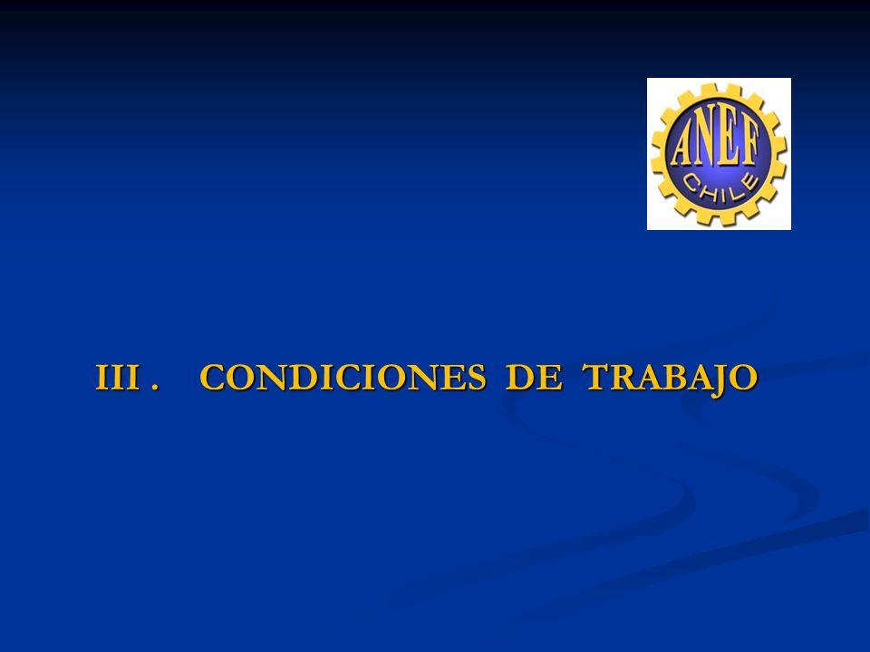 III . CONDICIONES DE TRABAJO