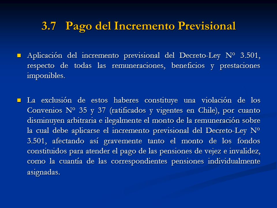 3.7 Pago del Incremento Previsional