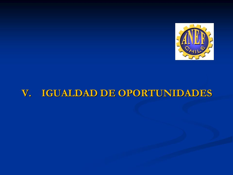 V. IGUALDAD DE OPORTUNIDADES